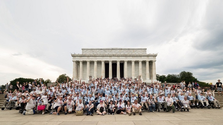 Honor Flight Kentucky participants at the Lincoln Memorial in Washington, D.C., May 26, 2018.