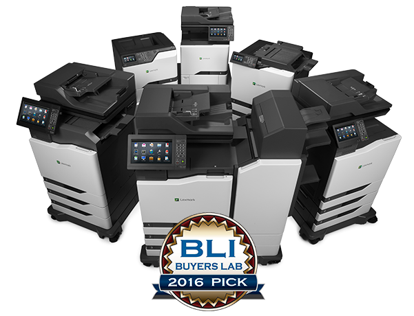 6 printers in a circle with the BLI Badge on top