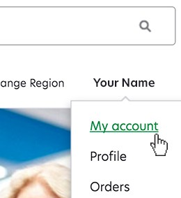 Select my account in account settings