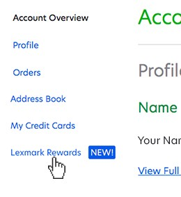 Select Lexmark Rewards within left-hand links
