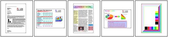 Five page color test suite specified by ISO/IEC 19789 standard for yield testing